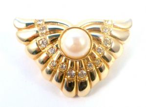Vintage Art Deco Revival Fan Brooch